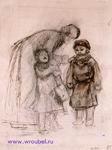 Врубель М.А. Женщина с двумя детьми. Конец 1870-х - начало 1880-х. Бумага, коричн. тушь, перо, граф. карандаш. 18,5х13,4. Рисунок для детского журнала. ГРМ