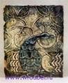 Врубель М.А. Изразец-вставка Павлин. 1890-1900-е. Глина, формировка, рельеф, роспись глазурями трех цветов по белой эмали. 41х33,5. ГРМ