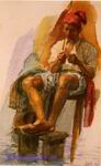 Врубель М.А. Итальянский рыбак. 1885. Бумага, акварель. 16,8х10,3. ГРМ