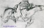 """Врубель М.А. Скачущий всадник. Несется конь быстрее лани... 1890-1891. Иллюстрация к поэме М.Ю. Лермонтова """"Демон""""."""
