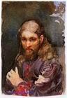Врубель М.А. Священник в лиловой рясе. 1885. Бумага, акварель. 10х6,8. ГРМ