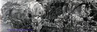 Врубель М.А. Микула Селянинович. 1896. Эскиз-вариант декорат. панно. К. серый, акв., граф. кар., белила. 12,1х41,3. ГТГ.