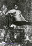 Врубель М.А. Натурщица в обстановке Ренессанса. 1883. Бумага, наклеенная на картон, акварель, белила, лак. 35,8х24,4