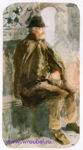 Врубель М.А. Лаццарони (Старик-венецианец). 1885. Бумага, акварель. 34,9х18,3. ГРМ