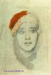 Врубель М.А. Женская голова (Эмилия Львовна Прахова). 1884-1885. Бумага, графитный карандаш, масло. 43x32,3