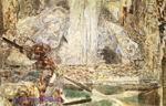 Врубель М.А. Воскресенье. Фрагмент. 1887. Бумага, наклеенная на картон, акварель, черный карандаш. 40,8х64,3. ГТГ