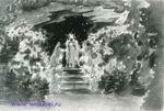 """Врубель М.А. Пантомима. Эскиз декорации к опере Э. Гумпердинка """"Гензель и Гретель"""". Вторая картина, сцена третья. 1896. Б., акв."""