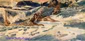 Врубель М.А. Игра наяд и тритонов. Законченный эскиз композиции. 1900. Б. коричневая, акв., белила, граф. кар. 29х61. ГТГ