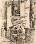 Врубель М.А. Интерьер. 1904. Бумага, графитный карандаш. 24х19,4. ГРМ