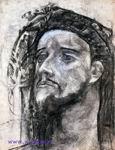 Врубель М.А. Голова пророка. 1904-1905. Бумага на картоне, уголь, графитный карандаш, акварель. 43,2х33,5. ГТГ