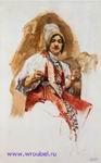 Врубель М.А. Пряха. 1882-1883. Бумага, акварель. 20,9х13,3. ГРМ