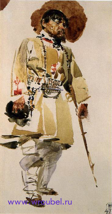 """1883 Врубель М.А. """"Натурщик в свамском костюме."""""""