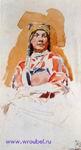 Врубель М.А. Натурщица в мордовском костюме. 1882-1883. Бумага, акварель. 16,3х8,8. ГРМ