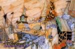 Врубель М.А. Сказочный город. Эскиз декорации. Картон, темпера, графит, гуашь, белила, золото. 16х24. ГРМ