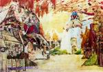 """Врубель М.А. Александровская слобода. 1899. Эскиз декорации к опере Н.А. Римского-Корсакова """"Царская невеста"""""""