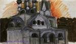 Врубель М.А. Проект церкви для села Талашкина. 1899. Дерево, масло, графит. 18х27