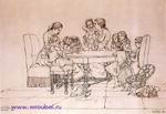 Врубель М.А. Конец 1870-х - начало 1880-х. Чтение сказки. Бумага, коричн. тушь, перо. 20,4х30. Рисунок для детского журнала. ГРМ.